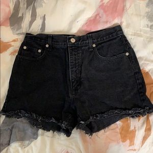 Black High Waisted Denim Cutoffs